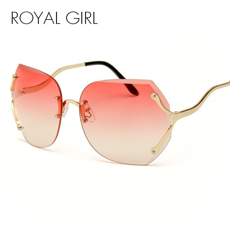 ROYAL GIRL Skaidrās saulesbrilles sievietes Jauns luksusa zīmola gradients vīriešiem lielizmēra saulesbrilles nevainojami rozā brilles Lune SS161