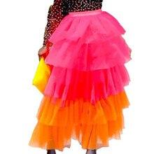 Sexy Mesh Transparent High Waist Cupcake Skirt Summer Boho Patchwork A-Line Ball Gown Skirts Casual Contrast Color Layered Skirt contrast gingham waist mesh overlay skirt