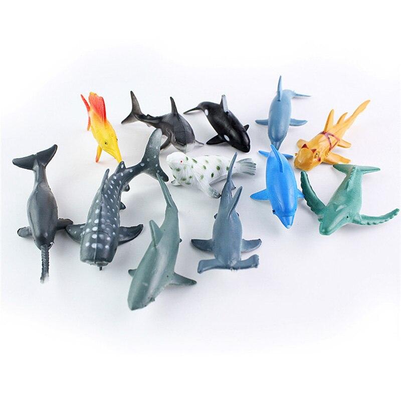 12pcs/lot Marine Animal Action Figures 6CM PVC Figure Collectible Toys  Animals Soft Rubber Toys