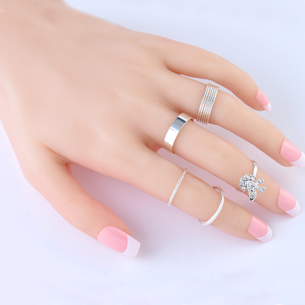 இ2018 New 5Pcs/Set Silver Ring Jewelry Fashion Top Of Finger Over ...
