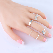 2015New 5Pcs/Set Silver Ring Jewelry  Fashion Top Of Finger Over The Midi Tip Above Knuckle Ajustble For women