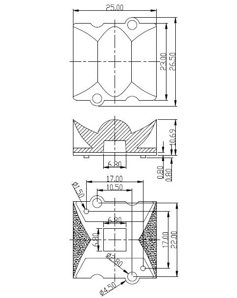 NHJ-25 Высококачественная светодиодная линза, 20X120 градусов, Размер линзы: 25X23X10,69 мм, подходит для: 3030,3535, чистая поверхность, PMMA