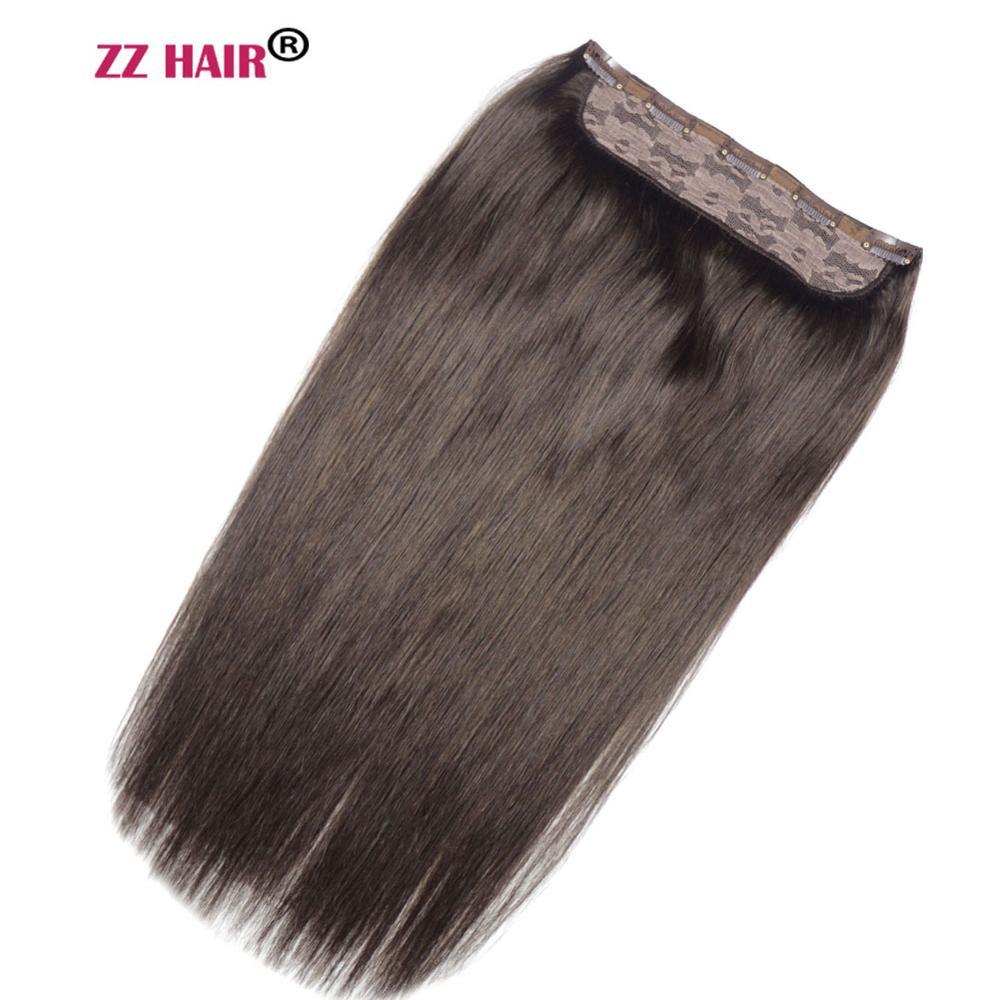 "ZZHAIR 100g-200g 16""-28"" Machine Made Remy Hair One Piece Set 5 Clip-in 100% Human Hair Extensions Natural Straight Hair"