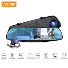 TAVIN Full HD 1080P Dash Cam Car Dvr Camera Auto 4.3 Inch Rearview Mirror Digital Video Recorder Dual Lens Registrator Camcorder