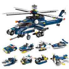 8 In 1 Set Deformation New City Police Fighter Building Blocks Storm Armed Helicopter Educational Assemble Toys for kids gifts