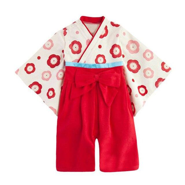Японские кимоно для девочек Детские цветочные кимоно ползунки dress младенческой малыша дети flowerbow хлопка одежды Хэллоуин подарок