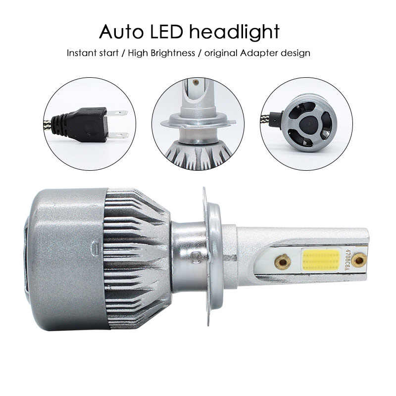 Elglux  Super Bright LED Car Headlight C6 H1 H3 Headlamp Light H11 HB3/9005 HB4/9006 9012 9007 H13 6000K 72W 7600LM All In One