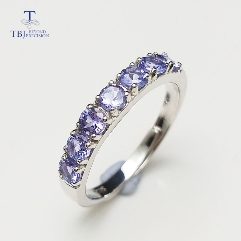 TBJ,Delicate small ring with natural Good color blue Tanzanite gemstone lady Ring in 925 sterling silver fine jewelry for women tbj delicate small ring with natural good color blue tanzanite gemstone lady ring in 925 sterling silver fine jewelry for women