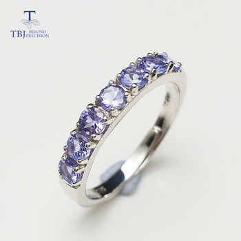 TBJ,Delicate small ring with natural Good color blue Tanzanite gemstone lady Ring in 925 sterling silver fine jewelry for women