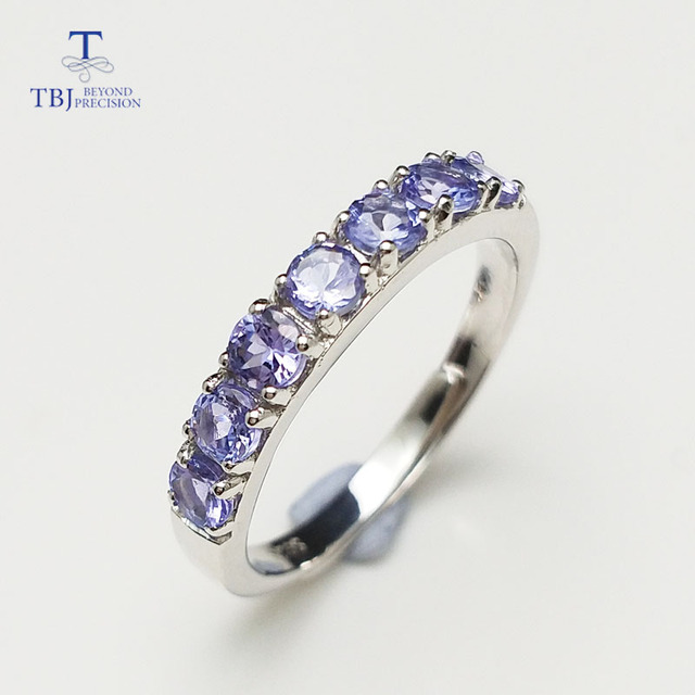 TBJ,Delicate small ring with natural Good color blue Tanzanite gemstone lady Rin
