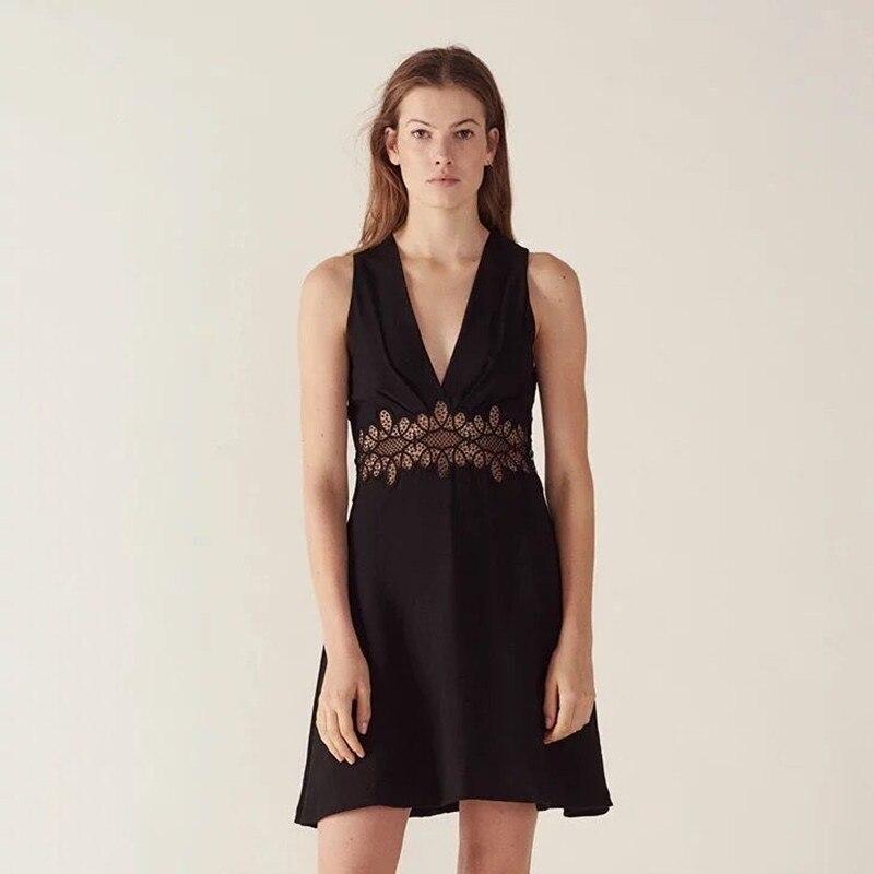 2019 New Women Black Sleeveless Mini Dress V Neck Hollow Out Lace Party Dress