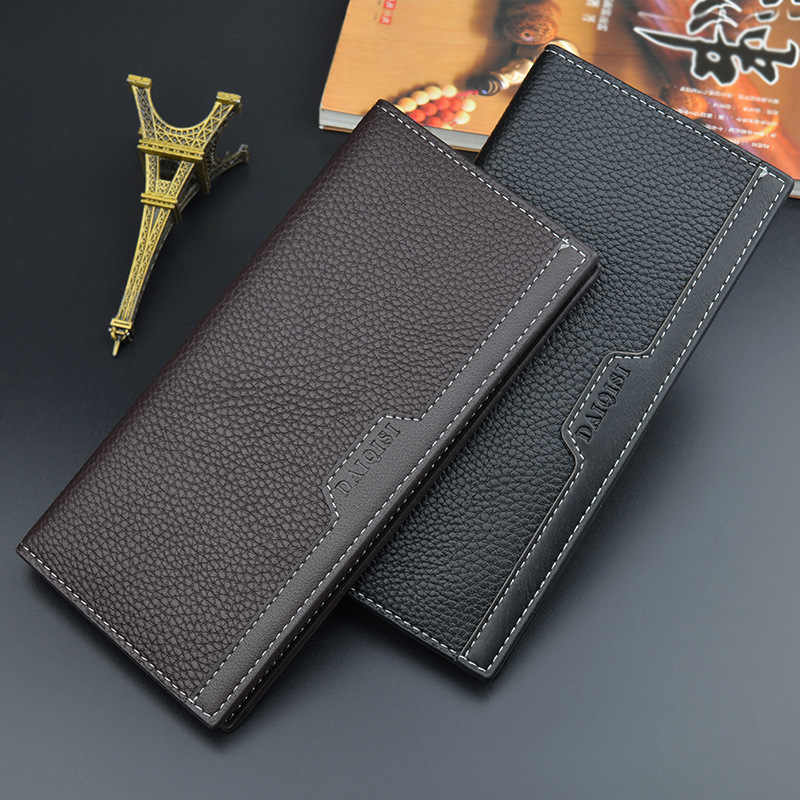 New Style Men PU Leather Long Clutch Wallet Business Cards Holder Purse Male Fashion Pocket Wallet Coin Bag Purse Billfold.