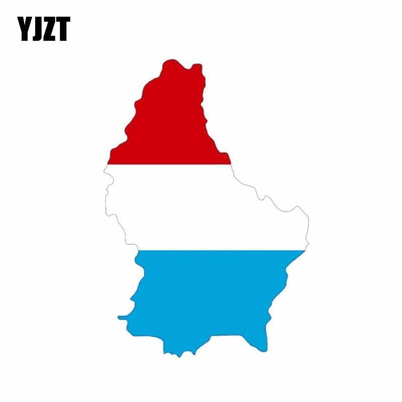YJZT 8.6CM*12.3CM Car Styling Luxembourg Flag Map Decal PVC Helmet Car Sticker 6-0869