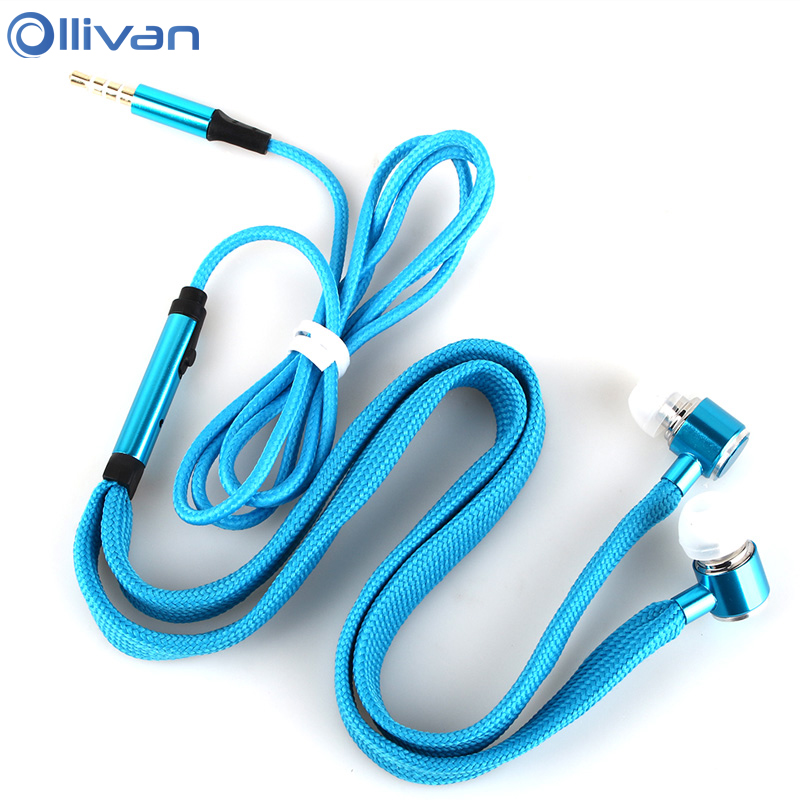 Ollivan Shoelaces Earphone Stereo Metal Bass Earbuds Headsets Music Earpieces with Microphone for iPhone Xiaomi Samsung Sport 3 5mm heavy bass stereo earphone for nokia 6700 classic gold edition earbuds headsets with microphone metal in ear earphones