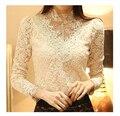 Женщины в Elegent рукав-буф видеть сквозь вышивка бисером марля кружево рубашка длинная - рукав официальный блузы размер : S - Xxl