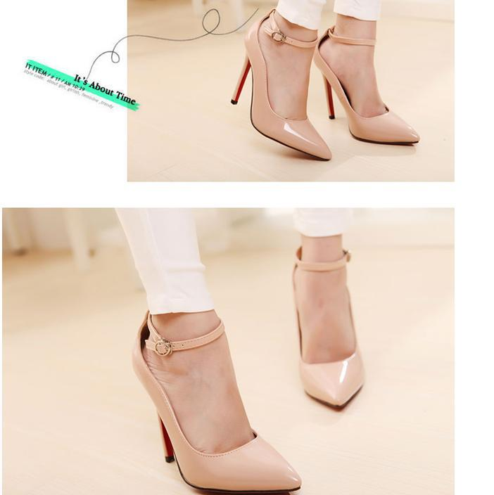 c667f5376c Elegant sexy ankle strap bright patent leather pointed toe thin heel ...