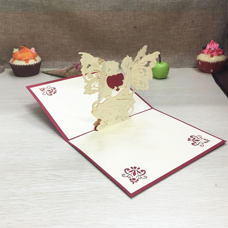 1pcs Angel Heart Laser Cut Paper Greeting 3D Pop Up Kirigami Card Wedding Invitation Birthday Valentine's Day Postcards Gifts (5)