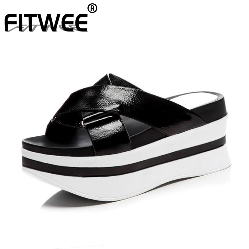 FITWEE Women Real Genuine Leather Wedges Sandals Women Shoes Open Toe Platform Sandals Summer Shoes Women