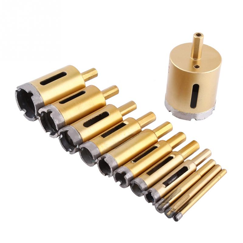 Diamond Drill Bit Hole Saw Glass Cutter Tile Cutting Tool for Ceramic Marble Stone Optional Size 6mm-50mm 15pcs set 6mm 50mm diamond holesaw drill bit tool for ceramic porcelain glass marble 6 8 10 12 14 16 18 20 22 25 26 28 30 40 50m