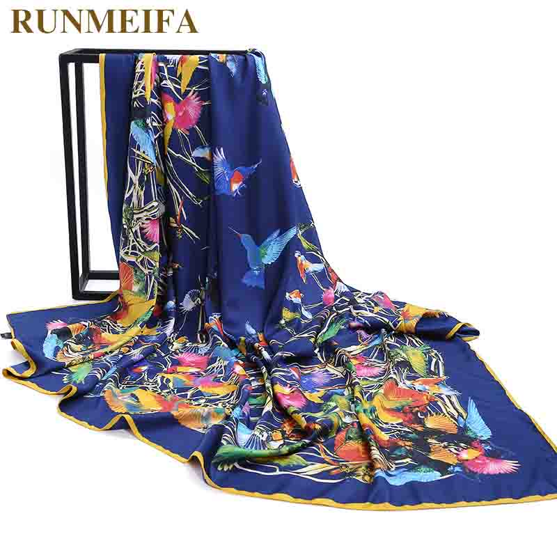[RUNMEIFA] 2018 Women Silk   Scarf   Large Shawls Stoles Bird Flower Tree Print Square   Scarves   Fashion Femme   Wrap   Bandanas 130*130CM