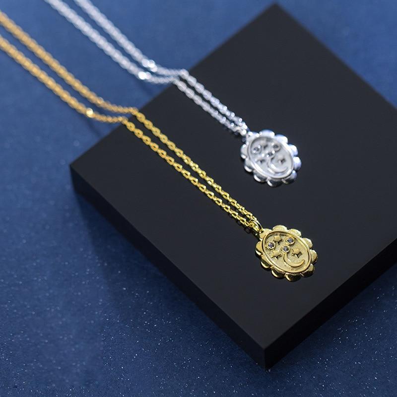 Moon Necklace 925 Silver Star Choker Kolye Gold Pendant Charm Minimalism Vintage Boho Bijoux Femme Collier Necklace for Women