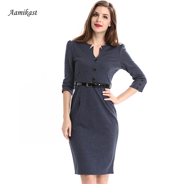 AAMIKAST 2018 Women Dresses Fashion V-neck With Belt Buckle Button Wear To  Work Business Pencil Bodycon Party Dresses c37c4c6bbe3b