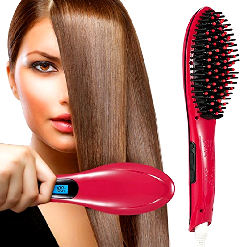 High Quality LCD Display Ceramic Hair Straighteners Electric Degital Control Straightening Brush Hair Straightener Comb