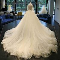 Loverxu Vestido De Noiva Long Sleeve Lace Wedding Dress 2018 Sexy Illusion Appliques Beaded Zipper A Line Bridal Gown Plus Size