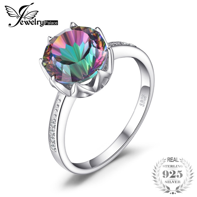4.3 ct Rainbow Fire Mystic Topaz Round Concave Cut Genuine Solid 925 Sterling Si