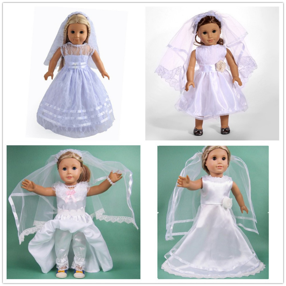 5 color Wedding dress&clothes wear For 18 inch American Girl Doll ...