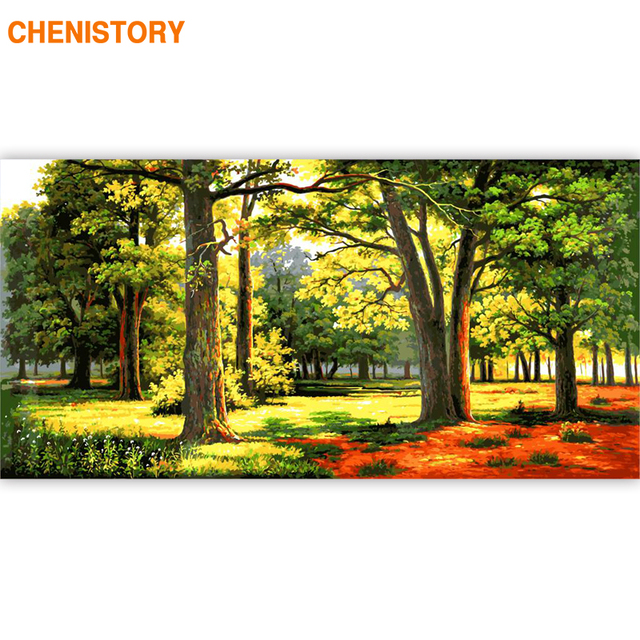 CHENISTORY 60x120cm Frame DIY Painting By Numbers Green Forest Landscape Acrylic Paint By Number Calligraphy Painting Large Size