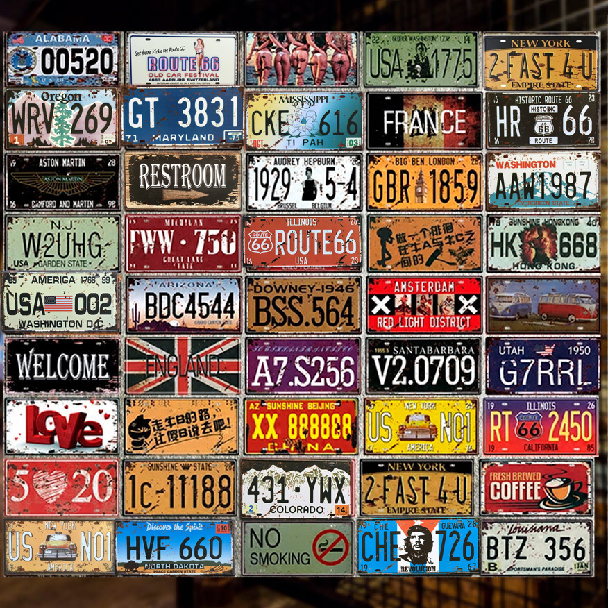 New Car Metal License Plate Vintage Home Decor Tin Sign Bar Pub Garage Decorative Metal Sign Metal Painting Plaque Metal Art