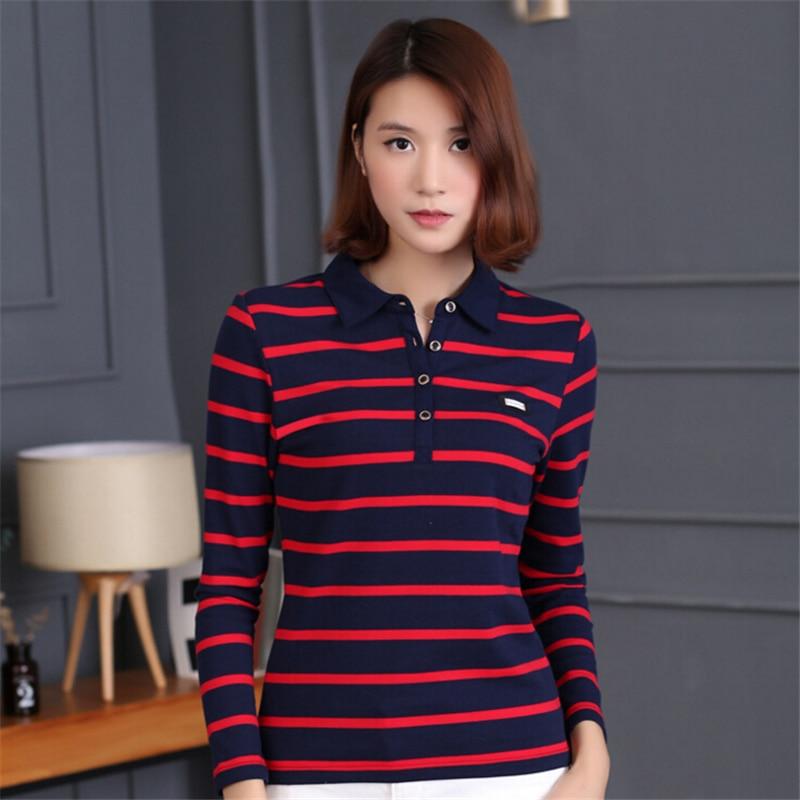 Autumn winter new stripes Women Tops Polo Shirt Long sleeves Elastic Slim Fashion Polos Shirts Plus Size Femme Cotton women