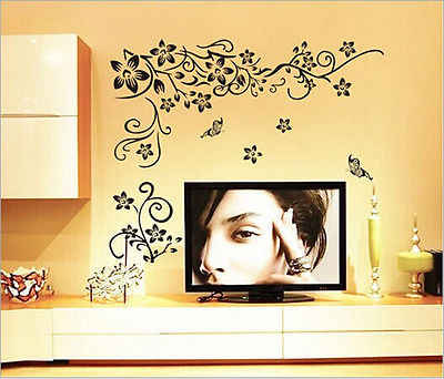 Nieuwe Klassieke zwarte bloem wijnstok muursticker Europese woonkamer slaapkamer TV bank achtergrond muur sticker Vinyl Verwijderbare