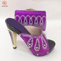 2018 Paars Kleur Italiaanse Schoenen met Bijpassende Tassen Dames Italiaanse schoenen en Tas Set Afrikaanse Schoenen En handtas Set Party bruiloft