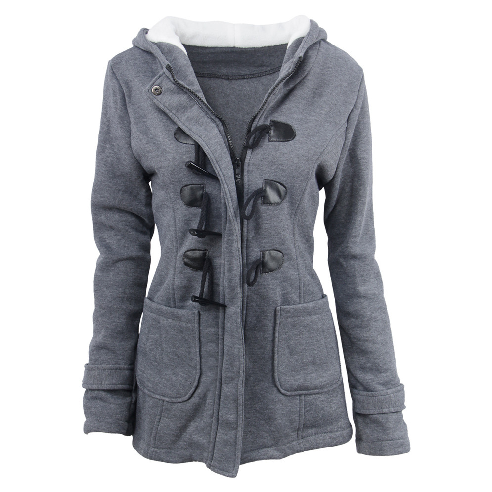 Plus Size S~6XL Women Hooded Coat 2018 Causal Women's Overcoat Female Coat Zipper Horn Button Outwear Jacket Casaco Feminino (1)