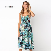 Echoine Women Sundress Spaghetti Strap Dress Sexy Low Cut Floral Print Strapless Sleeveless Loose Ladies Charming Travel Outwear