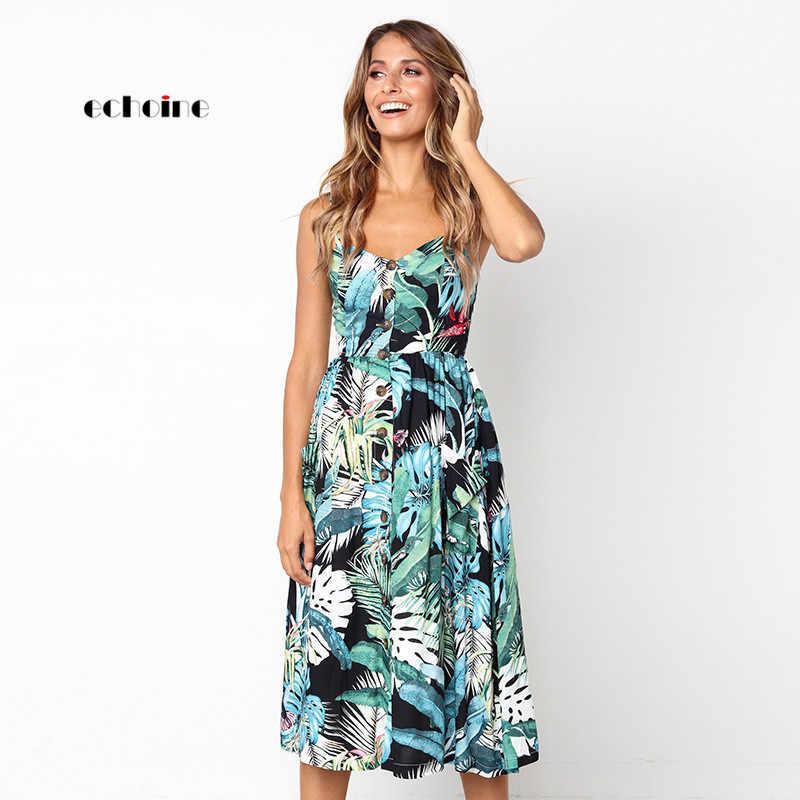 Echoine, женский сарафан, платье на бретельках, сексуальное, с низким вырезом, цветочный принт, без бретелек, без рукавов, свободное, для девушек, очаровательная, для путешествий, верхняя одежда
