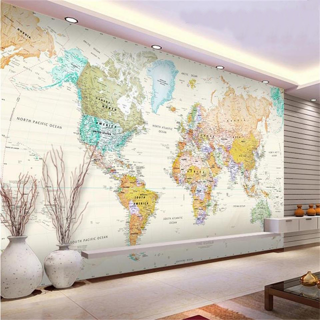Wall Size World Map custom size 3d photo wallpaper kids mural living room color world  Wall Size World Map