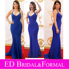 Tina Fey Kleid. Emmy Awards 2013 Roter Teppich Royal Blue Mermaid Halter Abendkleid Abendkleid