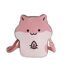 Japan and South Korea Type Cute Cartoon PU Women Bag Childlike Small Personality Tide Hamster Clutch Shoulder bag