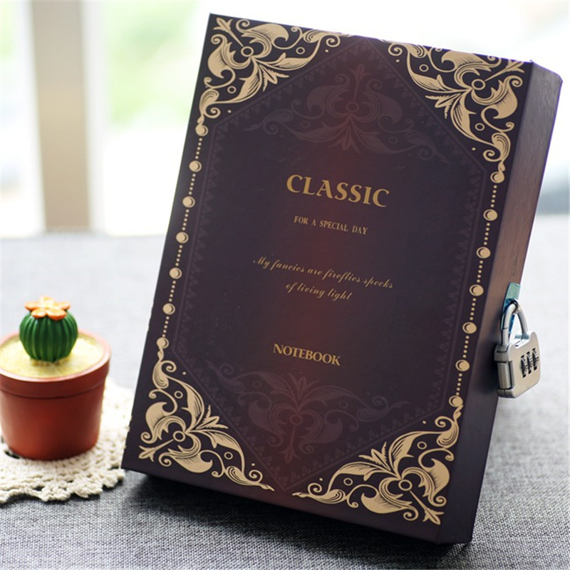 Classic A5 Notebook With Password Lock Retro Writing Notepad Travel Journal Diary Memos Planner Organizer Composition Book GiftClassic A5 Notebook With Password Lock Retro Writing Notepad Travel Journal Diary Memos Planner Organizer Composition Book Gift