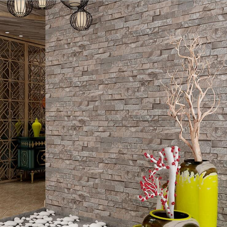 modern antique faux marble 3d effect wallpaper roll embossed brick art style for hotel living room shop home decoration - Brick Hotel Decoration
