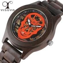 YISUYA Skull Skeleton Reloj de Lujo Mecánico Automático Reloj Para Hombre de Acero Único Brazalete Sport Reloj de madera De Madera Natural Completo