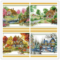 Four Season Spring Winter Counted Cross Stitch 11CT DMC Cross Stitch DIY Cross Stitch Kits Embroidery for Home Decor Needlework