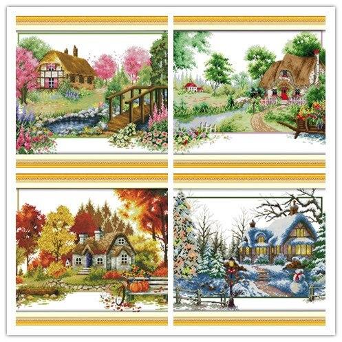 Vier Saison-Frühling Winter Gezählt Kreuz Stich 11CT DMC Kreuz Stich DIY Kreuz Stich Kits Stickerei für Wohnkultur hand