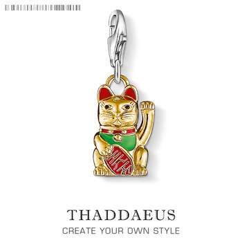 Güzel karikatür şanslı kedi oyuncak Charm kolye kadın erkek çocuk sevgilisi 925 ayar gümüş 2020 hediyesi Fit deri anahtarlık bilezik