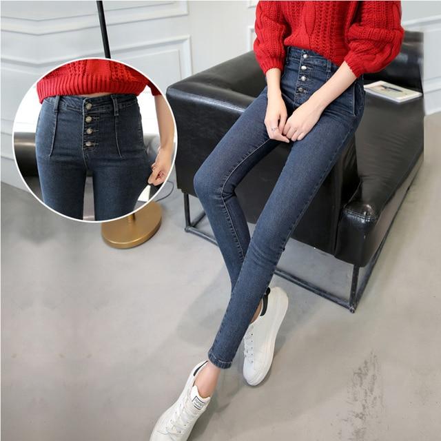 Jeans Woman 2016 Autumn Winter New Plus Size Jeans Female Button High Waist Denim Pants Slim Fit Pencil Skinny Jeans For Women