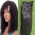 Hot Sale Afro Kinky Curly Clip in Human Hair Extensions 9pcs/set  Natural Color 7A Brazilian Virgin Kinky Curly Clip Ins Hair