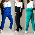 Women Casual Tracksuit Suit  Set Zip Hoodie Hoody Sweatshirt Top Pants Set Sportswear Fashion Splicing Hooded Zipper Sweater